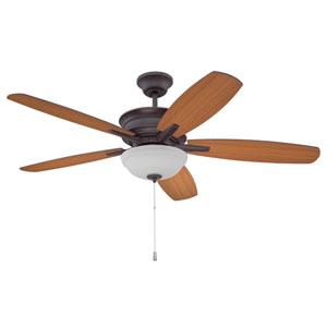 Penbrooke Oiled Bronze Gilded 52-Inch LED Ceiling Fan With Teak Blades