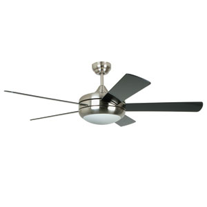 Titan Satin Chrome 52-Inch One-Light Ceiling Fan with Reversible Glossy Black and White Pine Blades
