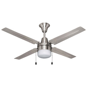 Beacon Brushed Polished Nickel 48-Inch Ceiling Fan With LED Light Kit