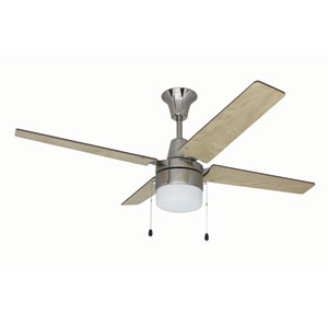 Connery Brushed Polished Nickel 48-Inch Ceiling Fan With Ash/Wenge Blades and LED Light Kit