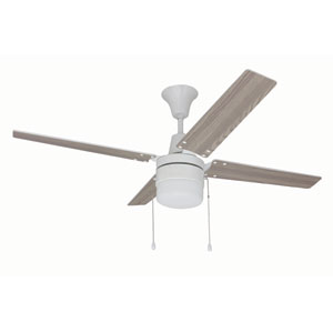 Connery White 48-Inch Ceiling Fan with Reversible White and Whitewash Blades and LED Light Kit