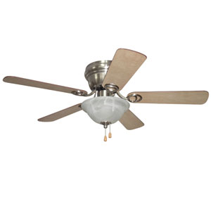 Wyman Brushed Polished Nickel 42-Inch Two-Light Ceiling Fan with Reversible Ash and Walnut Blades