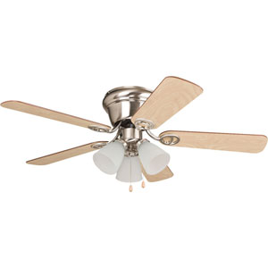 Wyman Brushed Polished Nickel 42-Inch Three-Light Ceiling Fan with Reversible Ash and Walnut Blades