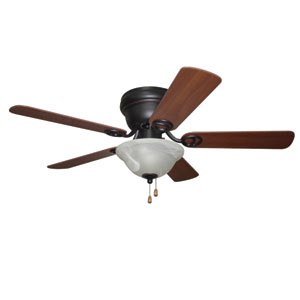 Wyman Oil-Rubbed Bronze 42-Inch Two-Light Ceiling Fan with Reversible Classic Walnut and Walnut Blades
