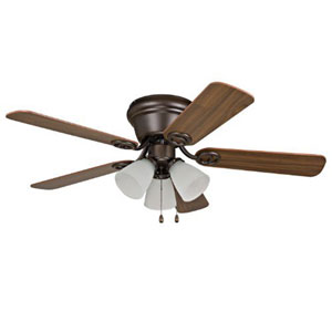Wyman Oil-Rubbed Bronze 42-Inch Three-Light Ceiling Fan with Reversible Classic Walnut and Walnut Blades