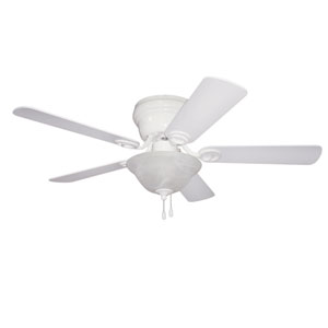Wyman White 42-Inch Two-Light Ceiling Fan with Reversible White and White Washed Blades