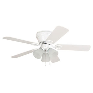 Wyman White 42-Inch Three-Light Ceiling Fan with Reversible White and White Washed Blades