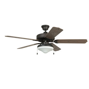 Enduro Aged Bronze Brushed 52-Inch Two-Light Outdoor Ceiling Fan with Weathered Oak Blades and Light Kit