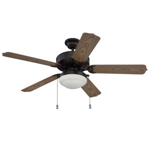 Enduro Aged Bronze Brushed 52-Inch Outdoor Ceiling Fan with Weathered Oak Blades and LED Light Kit