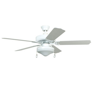 Enduro White 52-Inch Two-Light Outdoor Ceiling Fan with White Blades