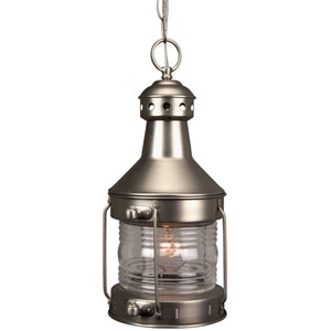 Nautical Brushed Nickel One Light Outdoor Pendant With Clear Gl