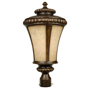Prescott Peruvian Bronze One-Light Post Mount with Antique Scavo Glass