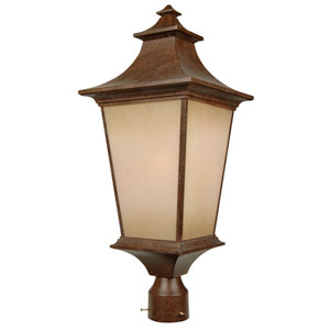 Argent Aged Bronze One-Light Outdoor Post Mount with Champagne Frost Glass