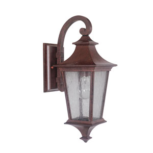 Argent Aged Bronze One-Light Small LED Outdoor Wall Mount Lantern with Clear Seeded Glass