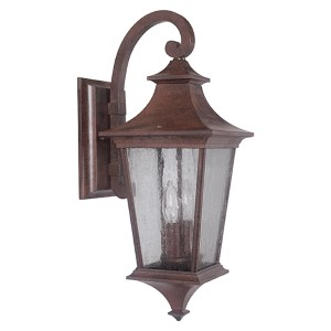 Argent Aged Bronze One-Light Medium LED Outdoor Wall Mount Lantern with Clear Seeded Glass