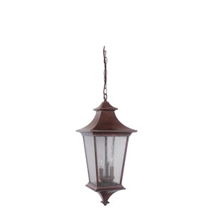 Argent Aged Bronze One-Light Large LED Outdoor Pendant with Clear Seeded Glass