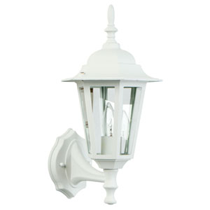 Straight Glass Matte White One-Light Outdoor Wall Mount