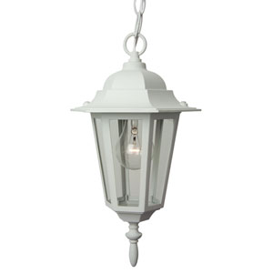 Straight Glass Matte White Outdoor Pendant