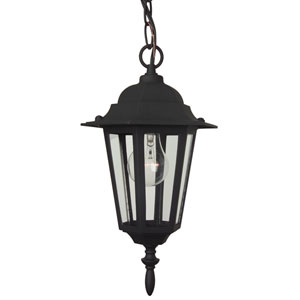 Straight Glass Matte Black Outdoor Pendant