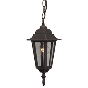 Straight Glass Rust Outdoor Pendant