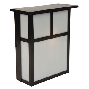 Mission Burnished Copper One-Light Outdoor Wall Mount with Frosted Glass
