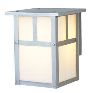 Mission Stainless Steel One-Light 6-Inch Outdoor Wall Mount with Frosted Glass