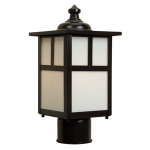 Mission Burnished Copper One-Light Outdoor Post Mount with Frosted Glass