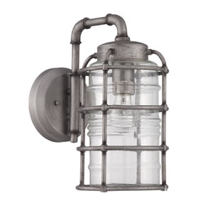 Hadley Aged Galvanized Seven Inch Outdoor Wall Sconce