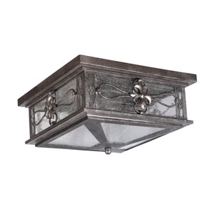 Edinburgh Dark Granite Two-Light Outdoor Flushmount