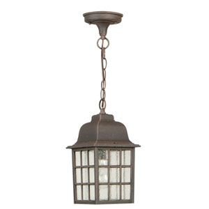 Grid Cage Rust One-Light Outdoor Pendant