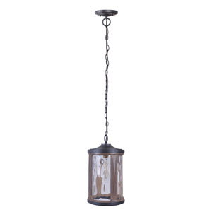 Madera Textured Black Whiskey Barrel One-Light Outdoor Pendant