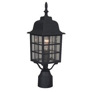 Grid Cage Matte Black One-Light Outdoor Post Mount