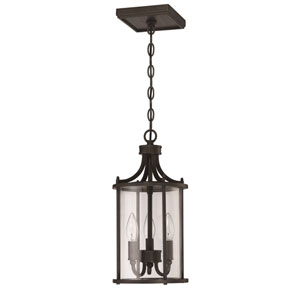 Carlton Aged Bronze Brushed Three-Light Outdoor Pendant