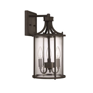 Carlton Aged Bronze Brushed Three-Light 15-Inch Outdoor Wall Mount