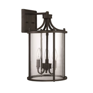 Carlton Aged Bronze Brushed Three-Light 17-Inch Outdoor Wall Mount