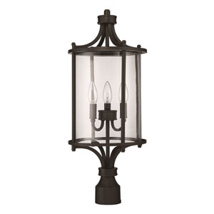 Carlton Aged Bronze Brushed Three-Light Outdoor Post Mount