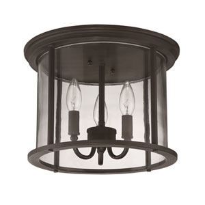 Carlton Aged Bronze Brushed Three-Light Outdoor Ceiling Mount