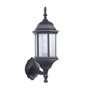 Hex Style Cast Matte Black One-Light 17-Inch Outdoor Wall Mount
