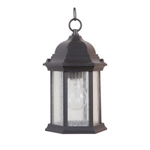 Hex Style Cast Matte Black One-Light Outdoor Pendant