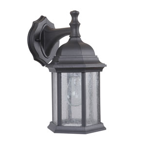 Hex Style Cast Matte Black One-Light 12-Inch Outdoor Wall Mount