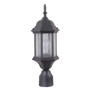 Hex Style Cast Matte Black One-Light 18-Inch Outdoor Post Mount