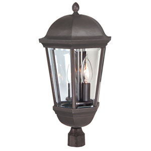 Britannia Oiled Bronze Three-Light Outdoor Post Mount with Clear Beveled Glass