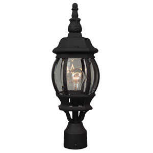 French Style Matte Black One-Light Outdoor Post Mount