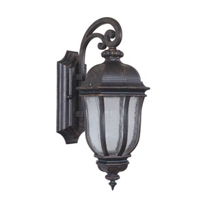 Harper Peruvian Bronze One-Light Small LED Outdoor Wall Mount Lantern with Clear Seeded Glass