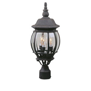 French Matte Black One-Light Outdoor Post Mount with Clear Beveled Glass