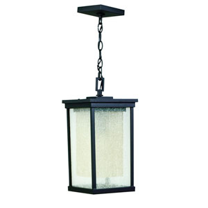 Riviera Oiled Bronze One-Light Outdoor Pendant with Double Shade