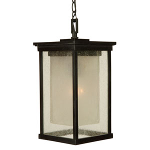 Riviera Oiled Bronze One-Light Energy Star Outdoor Pendant with Double Shade
