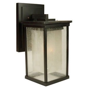 Riviera Oiled Bronze One-Light Energy Star 17-Inch Outdoor Wall Mount with Double Shade