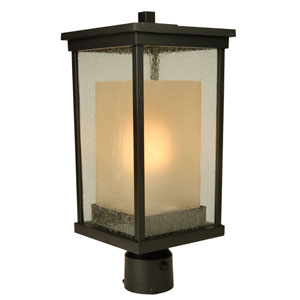 Riviera Oiled Bronze One-Light Energy Star Outdoor Post Mount with Double Shade
