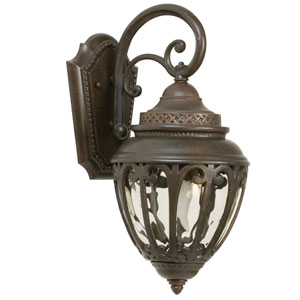 Olivier Aged Bronze One-Light Outdoor Wall Mount with Champagne Hammered Glass
